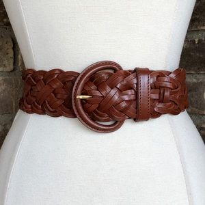 Vintage Belt M Leather Wide Braided Brown Milor